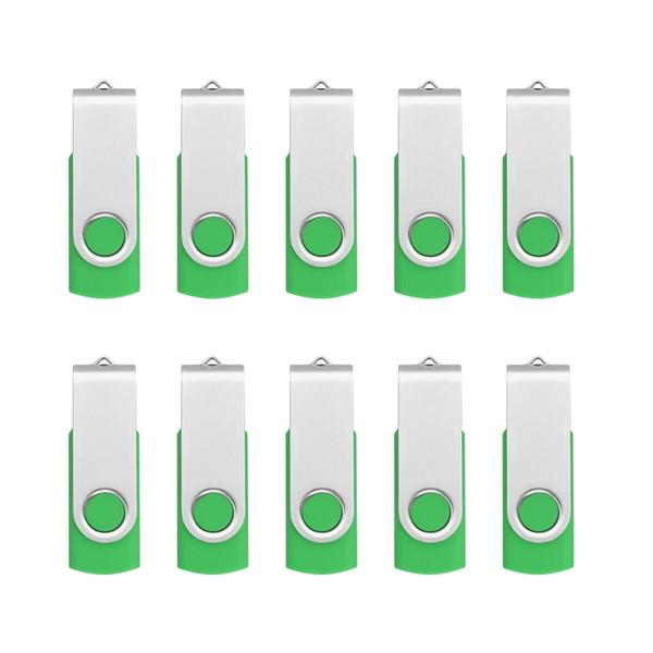 Green Bulk 10PCS Metal Rotating USB 2.0 Flash Drive Pen Drive Thumb Memory Stick 64M 128M 256M 512M 1G 2G 4G 8G 16G 32G for PC Laptop Mac