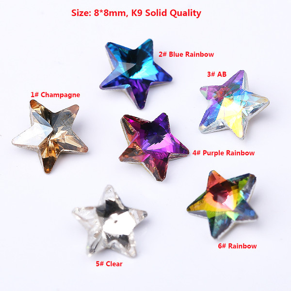 8mm K9 Quality 50pcs/bag Star Shape Nail Art Glass Stones Crystal Strass Fancy Rhinestone Pointback star crystal