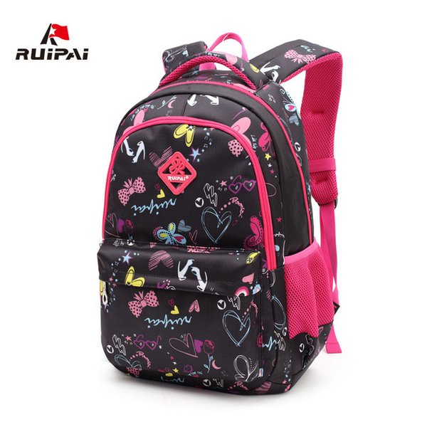 RUIPAI Fashion Floral Patterned School Bags Rose Red Schoolbag Backpacks for Girls and Boys Light Mochila Kids Baby Bags Y18110107