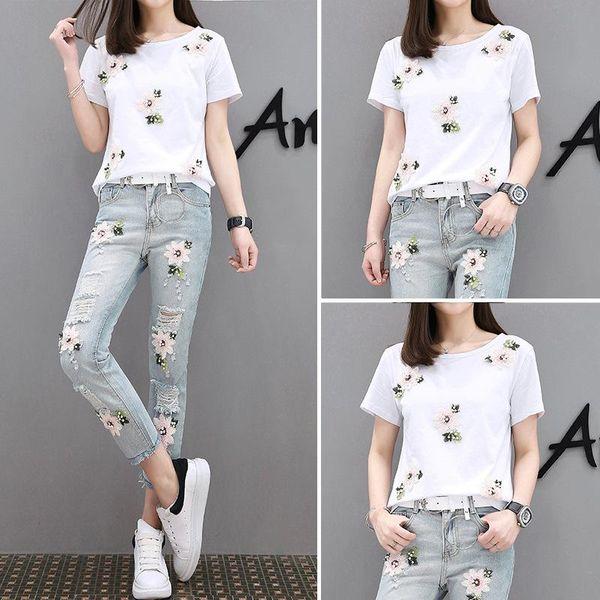Women Jeans Two Piece Set Pants Set T-shirt Set Jeans Pants Sets for Women Fashion Clothing