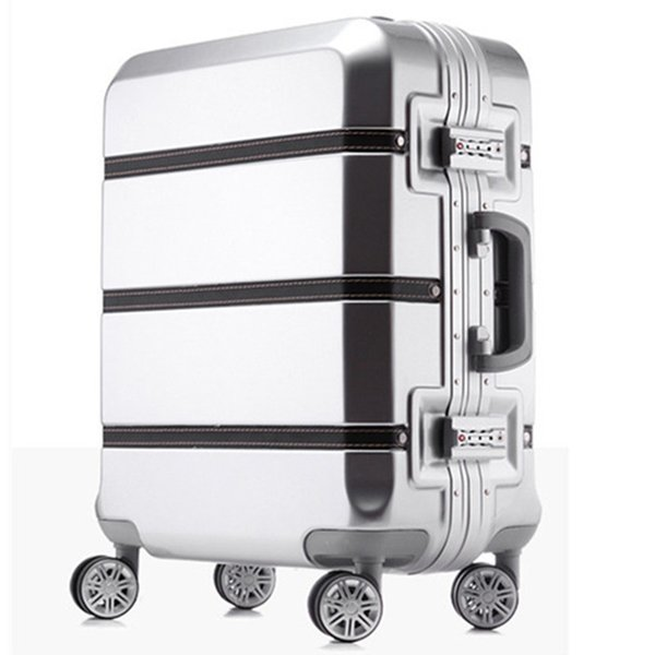 20/24/28 inch spinner ABS PC PU splice rolling luggage bag hardside cabin trolley suitcase case Aluminum frame brushed travel box