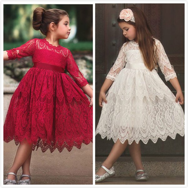 18ca7f93e3 Girls Christmas Flower Lace Embroidery Dress Kids Dresses for Girl Princess  Autumn Winter Party Ball Gown