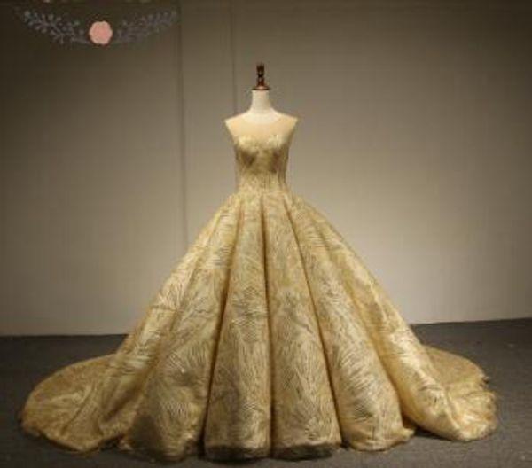 Rose Moda Luxury Gold Glitter Mesh Wedding Ball Gown 2018 O Neck Bling Photography Wedding Dresses Lace Up Back