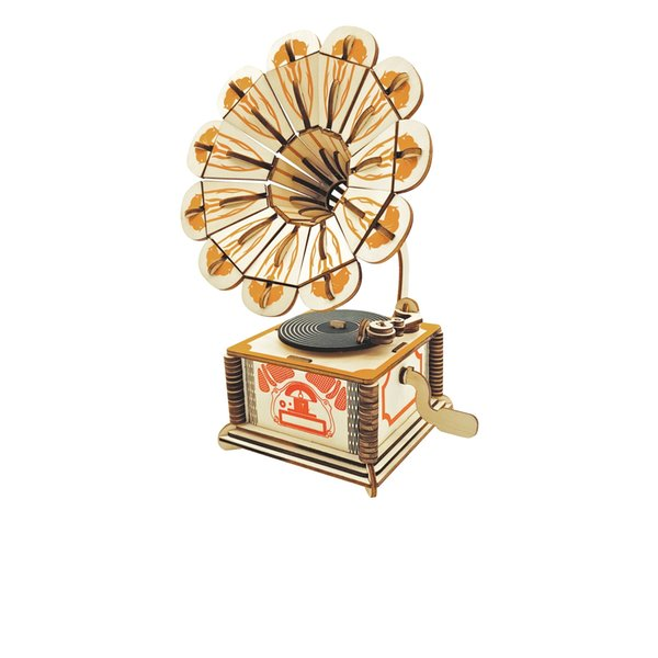 DIY Wooden Puzzle Model Gramophone 3D Jigsaw Puzzle Engineering Educational Toys Best Model Toy Gifts for Kids & Adults