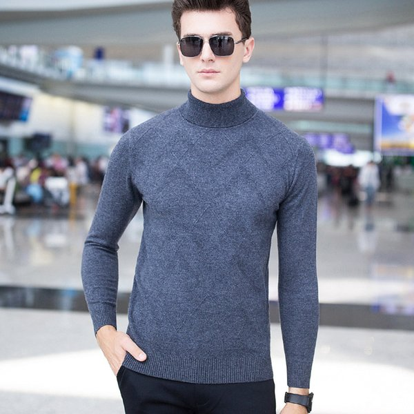 2019 Business Casual Pullover Wool Sweaters 2017 Autumn And Winter New  Turtleneck Sweater Men\u0027S Thick 100% Wool Knitted Sweater From Luweiha,  $68.45