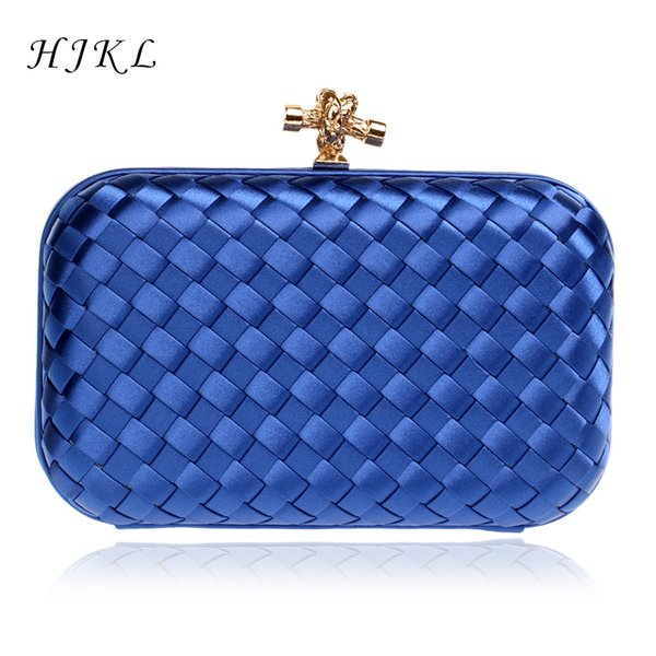 HJKL Exquisite Handbags Knitting Solid Square retro Clutch Women Bags Chain Shoulder Lady Evening Bags Phone Key Pocket