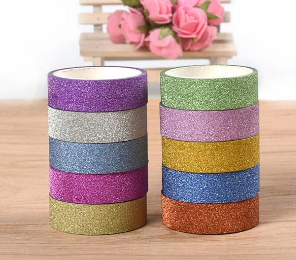 2016-2020 1.5CM /10M Glitter Washi Sticky Paper Masking Adhesive Tape Label DIY Craft Decorative Free Shipping