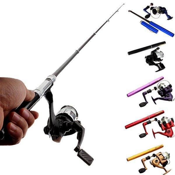 2018 best selling Mini Telescopic Portable Pocket Pen Shape Aluminum Alloy Fishing Rod Reel Line Set Kits