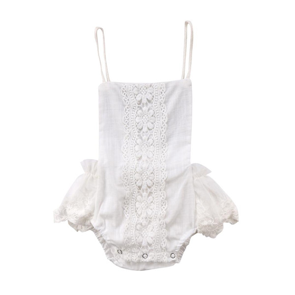 Kids Baby Girl Clothes White Lace Floral Romper Halter Jumpsuit Sunsuit Outfit 0-24M