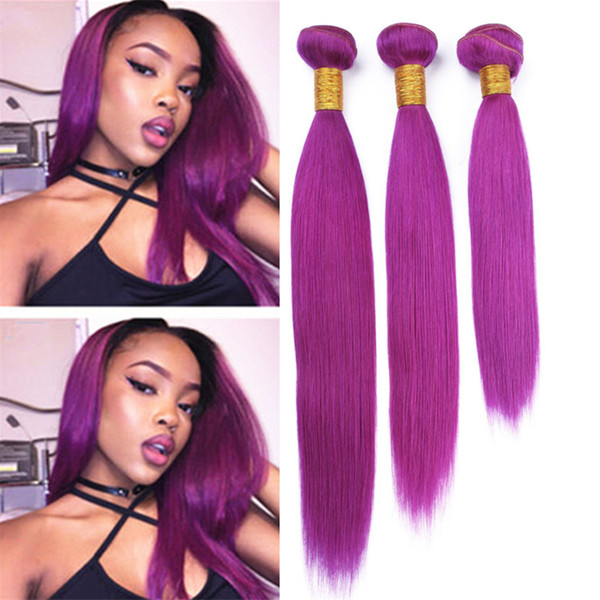 Colored Purple Virgin Peruvian Human Hair Weave 3 Bundles Deals