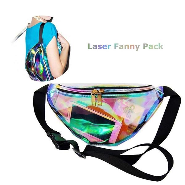 Hologram Laser Waist PVC Transparent Waterproof Waist Bag Beach Travel Pack Fanny Pack Zipper Bum Bag Water Resistant Shiny Case Opp
