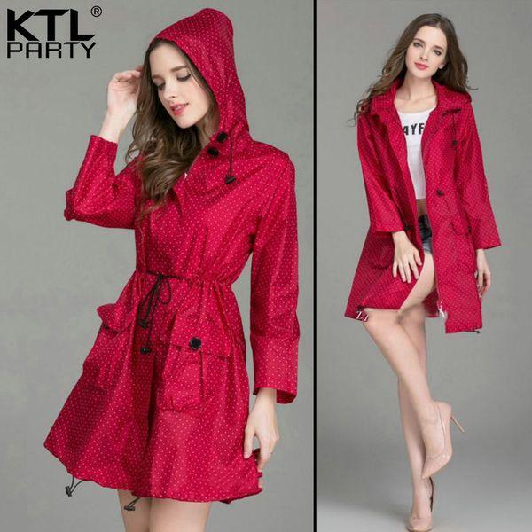 KTLPARTY Womens Japanese autumn and winter raincoats female waterproof rain poncho lady fashion rain overcoat rainwear