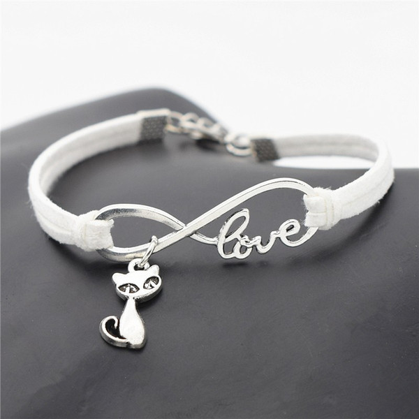 2018 New Silver Infinity love Cute Animal Cat Charms Small Fox Pendant Leather bracelet Popular Jewelry bangles for women men drop shipping
