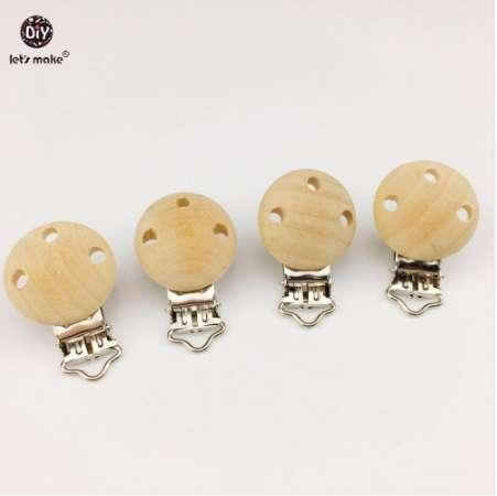 Let's Make Wooden Teether Dummy Clip 20pcs 2.9*4.6 cm Baby Nursing Accessories DIY Pacifier Holder Can Chew Wood Clips Beads