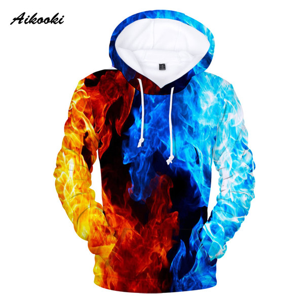 Aikooki Yellow And Blue 3D Fire Hoodies Men Sweatshirts Women Hoodies 3D Fire Print Fashion Winter Handsome Hooded Male Hoody