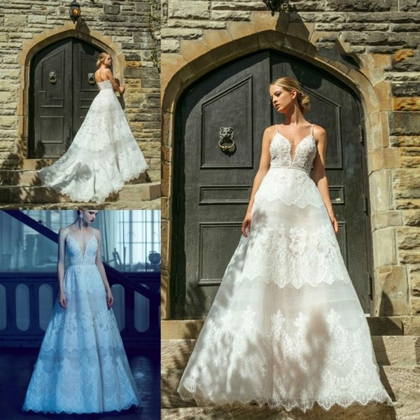 Princess Wedding Dress Exquisite Lace Applique Deep V Neck Top Quality Tulle Illusion Bridal Gowns Long Custom Made Wedding Dresses