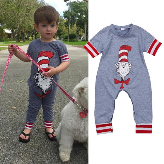 46cee6024a92 Newborn Baby Boys Girls Gray Jumpsuit Romper Cartoon Cat Red Striped  Chrismas Onesies Cute Baby Outfit Bodysuit Sunsuit Kid Clothing
