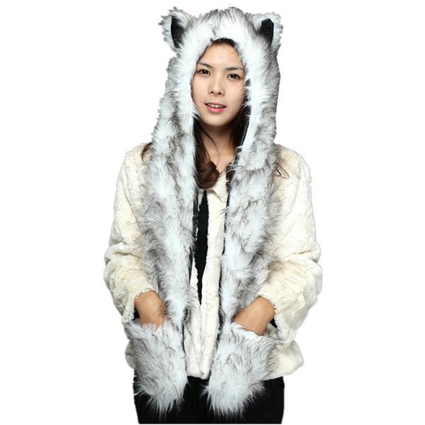 DOUBCHOW Simpatico Pelliccia sintetica Panda Lupo Orso polare Modello Cappelli animali con zampe Guanti per donna Uomo Ragazzi Inverno Berretto in pile
