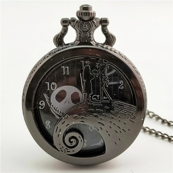Christmas Night Carved Vintage Antique Round Dial Quartz Pocket Watch Necklace Pendant Clock for Mens Womens Best Gifts