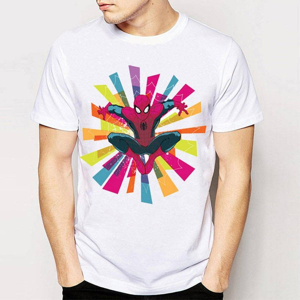 Clothing Plus Size S M L Xl Xxl Men'S Short Spider-Man In Colorful Web O-Neck Christmas Shirt