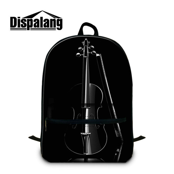 New Fashion Middle School Students Bookbags Music Violin Printed Backpack For 14 Inch Notebook Laptop Canvas Rucksack Unisex Mochilas Rugtas