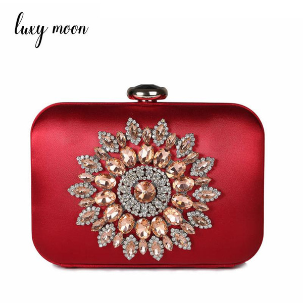 Luxury diamond evening bags fashion women rhinestone day clutch crystal flower  purse and handbags chains shoulder 3dceee75794f2
