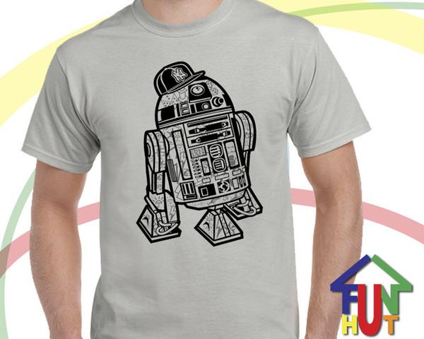 Граффити R2D2 смешно Оптовая скидка пародия рубашка все взрослые размеры байкер банды 3cpo Бесплатная доставка Harajuku топы мода классический