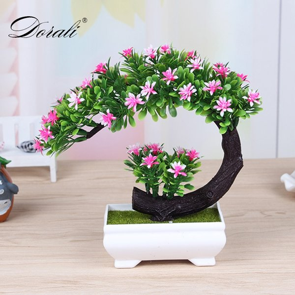 1 set plastic vase+ pine trees decorative flowers wreaths plants Artificial Mini Komatsu bonsai decoration for home wedding