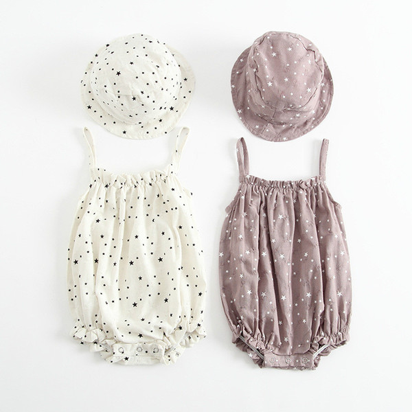 Verão New Born Bebê Meninas Romper Crianças Suspender Star Pattern One-piece Roupas com Chapéu Moda Crianças Jumpsuit