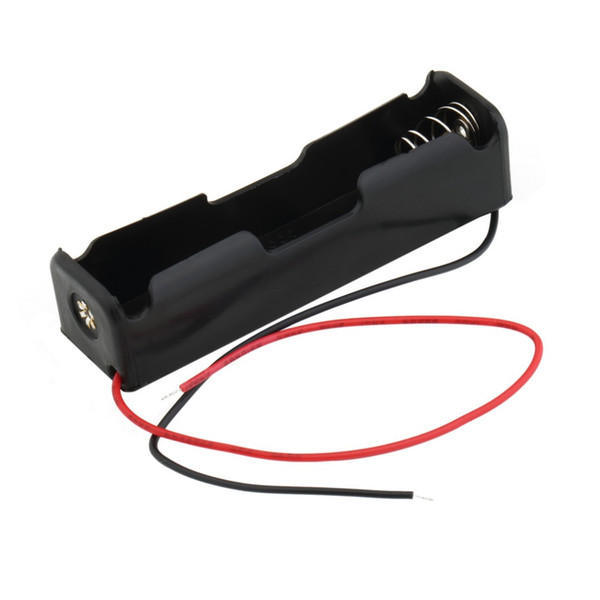"""Plastic Battery Case Holder Storage Box for 1 x 18650 3.7V Black with 6"""" Wire Leads"""