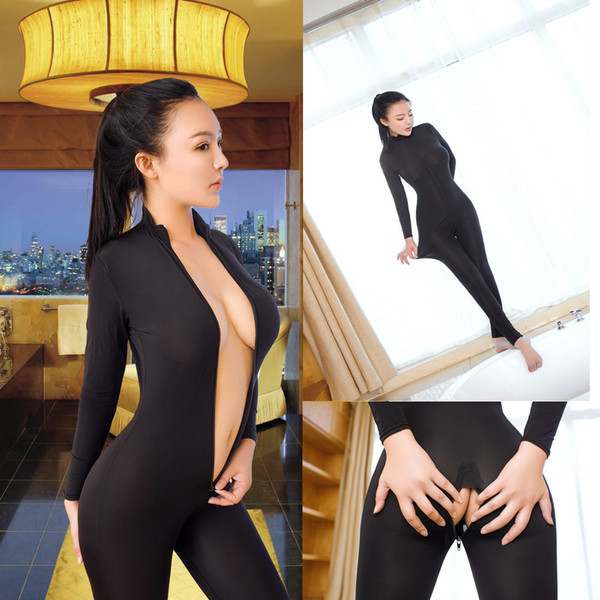 Taste Underwear Ice Silk Nylon Elastic Force Transparent Tights Both Head Zipper Lin Tai Open Crotch jumpsuit plus size black clothes sexy