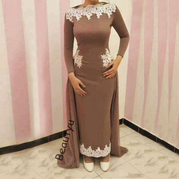 Vintage Long Sleeves Sheath Evening Dresses Yousef Aljasmi White Lace Overskirt Ankle Length Brown Muslim Women Formal Gowns 2018 Prom Dress
