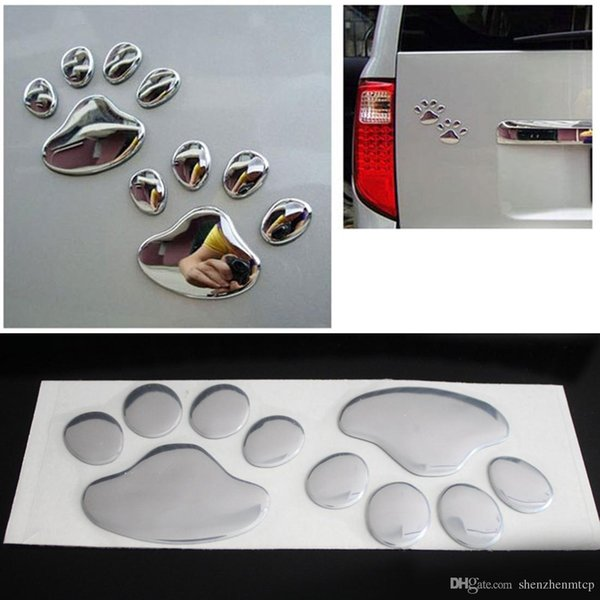 A pair Car Sticker Cool Design Paw 3D Animal Dog Cat Bear Foot Prints Footprint 3M Decal Car Stickers Silver Gold Pair