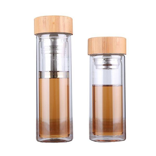 Tee Filter Tassen Doppelschicht Glas Tasse Gute Qualität Bambus Abdeckung Wasserflasche Außen Trinken Kaffee Becher 20 5bd ii
