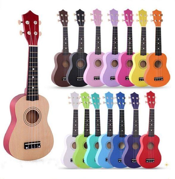 "Kids 17 Colors 21"" Soprano Ukulele Basswood Nylon 4 Strings Guitarra Acoustic Bass Guitar Musical Stringed Instrument for Beginners"