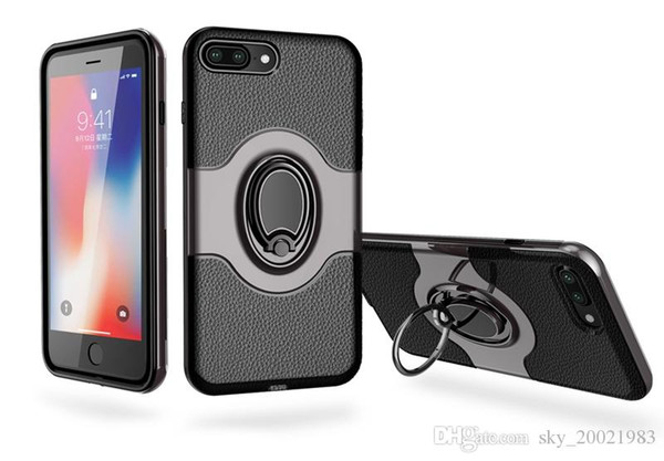 For Apple iPhone 8 Plus Shockproof Hybrid Armor Car Magnetic Mount Ring Holder Housing Cover Case for iPhone 8