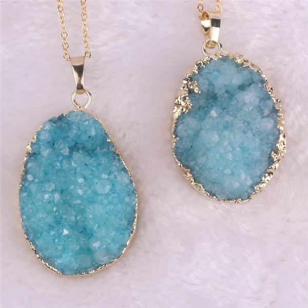 Women's Blue Natural Druzy Stone Pendant Gem Stone Statement Natural Pendant Necklace