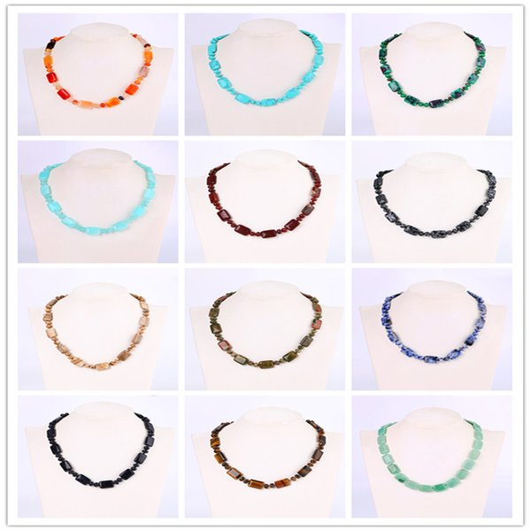 Roing Nature Blue Crystal Beads Chain Necklace For Women Square Natural Stone Crystal Ladies Jewelry Colar Feminino N095-N109