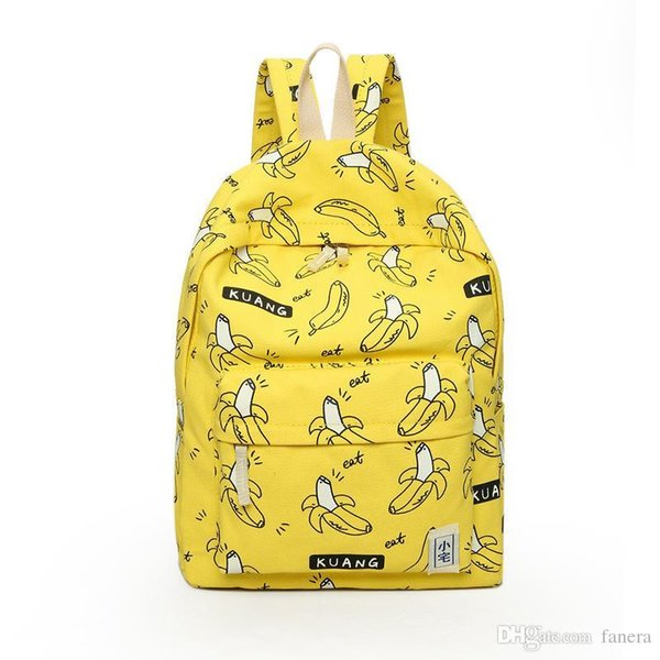 4bd680791c Wholesale- TOURIT Cute Girl Banana Pattern Printing Women Backpacks  Traveling Pratical School Bags Unique Fashion Canvas Backpack