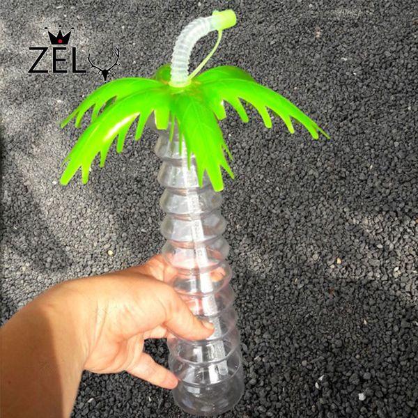 Umweltfreundlich 6pcs Transparent Kokosnuss-Baum-Cup 3d Stroh Kunststoff-Wasser-Cup Kreative Kaltes Getränk Cup Bar Cocktail Hawaii-Pool-Party