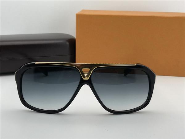 Luxury Mens Pilot Evidence Occhiali da sole Black Gold Grey Occhiali da sole firmati Eyewear Brand New in Box