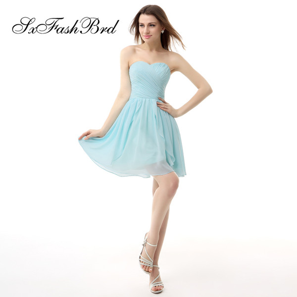 Fashion Elegant Sweetheart Mini Short A Line Sky Blue Chiffon Party Formal Evening Dresses Women Prom Dress