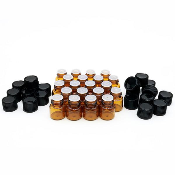 1ML 2ML 3ML (1/4 5/8 Dram) Amber Mini Glass Bottle 1cc 2cc 3cc Amber Sample Vial Small Essential Oil Bottle Travel Must