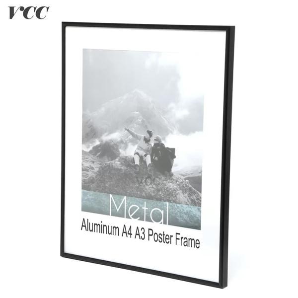 VCC Frame Wall Art Decorativo, Preto De Alumínio A4 A4 Cartaz Quadro De Parede Para Pendurar Na Parede, Moldura De Metal, Quadro De Certificado,