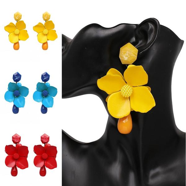 6 Colors Women Fashion Jewelry Boho Flower Tassel Stud Drop Dangle Earrings Gift Petal Fringe Beach Earring Support FBA Drop Shipping H121R