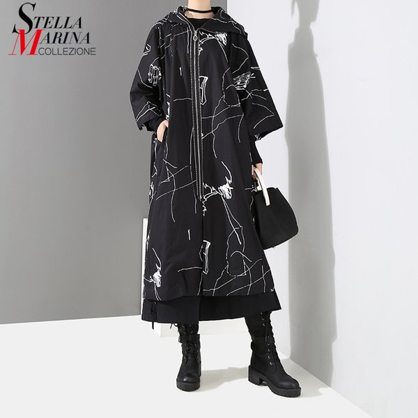 2018 Women Winter Black Long Trench Coat Hooded Zipper Oversized Female Stylish Casual Wear Wide-Waisted Printed Trenchcoat 3985