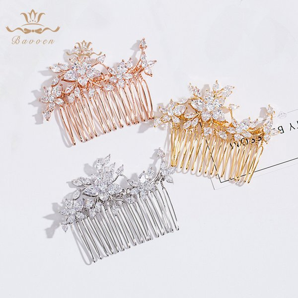 High Quality Sparkling Clear Cubic Zircon Wedding Hair Comb Bridal CZ Headpiece Hair accessories Evening Jewelry