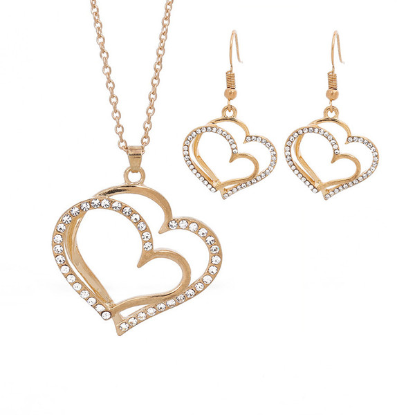 Luxury Wedding Dinner Bridal Accessories Love Heart Earring Necklace Fashion Gold Silver Crystal Charm Heart Jewelry Set