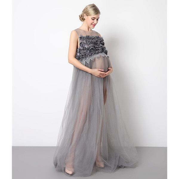 Pregnancy Women Elegant Dress Lace Long Pregnant Photo Dresses Yarn Maternity Party Photography Dress for Photo Shoot Clothing
