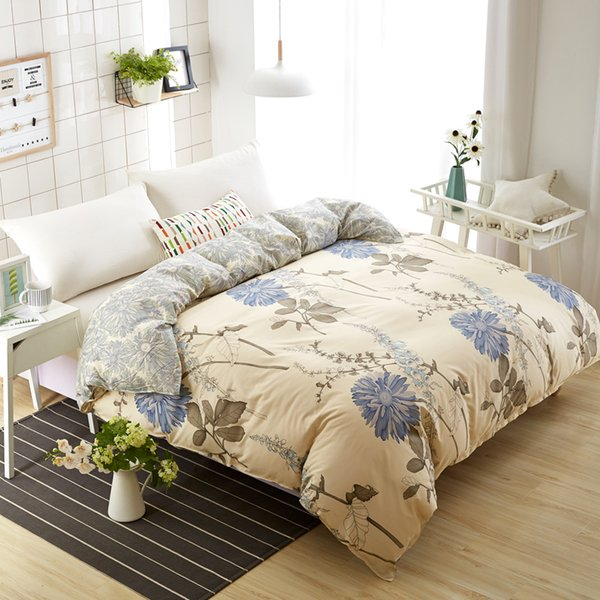 1 Piece Yellow Chrysanthemum Duvet Cover with Zipper Cotton Quilt or Comforter or Case Pastoral Printing Twin Full Queen